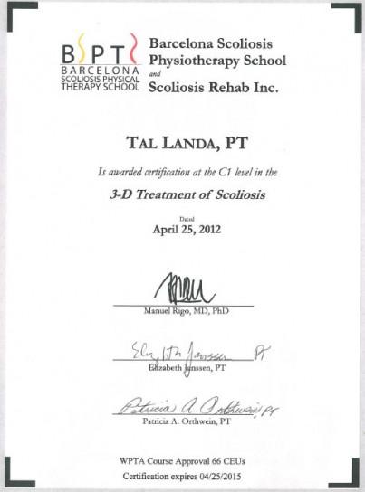 C1 Course Schroth Scoliosis Method- BSBPT, Cert. Schroth Scoliosis Therapist