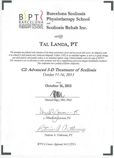 C2 Course Schroth Scoliosis Method-BSBPT, Cert. Advanced Schroth Scoliosis Therapist