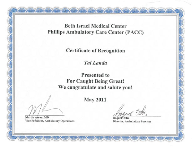 Certificate of Recognition – PACC Beth Israel Medical Center
