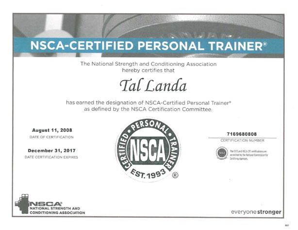 Certified Personal Trainer by the NSCA