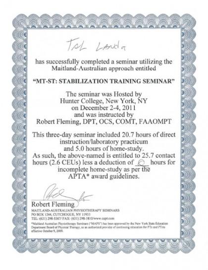 Maitland ST (Stabilization Training & Functional Rehabilitation)