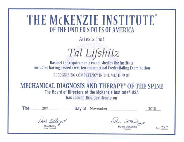 McKenzie Certified Therapist