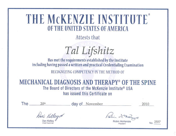 McKenzie Certified Therapist